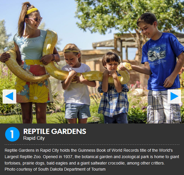 Reptile Gardens was voted the #1 attraction in South Dakota in th 2017 USA Today Reader's Poll