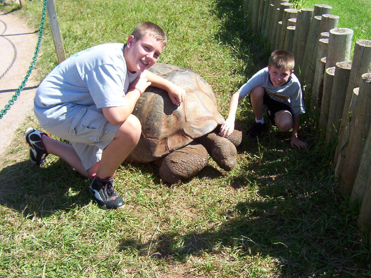Dalton & Sam with one of the giant tortoises