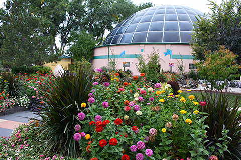 Image of the Sky Dome from the outside surrounded by beautiful gardens.