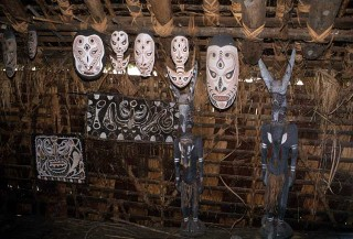 Masks in the Korogo village Men's House